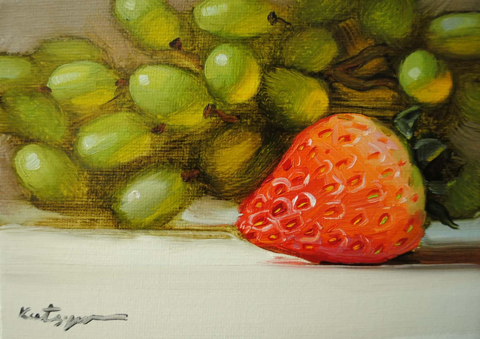 """""""Sunny Strawberry"""" original fine art by Elena Katsyura"""