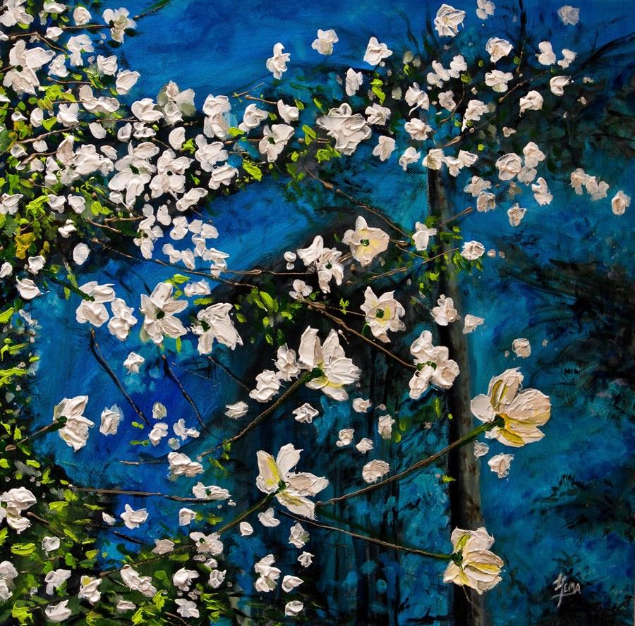 """Dogwood Stars"" original fine art by Hema Sukumar"