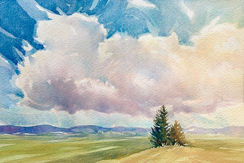 """Valley Fields: 6x9 watercolour on paper"" original fine art by Ken Faulks"