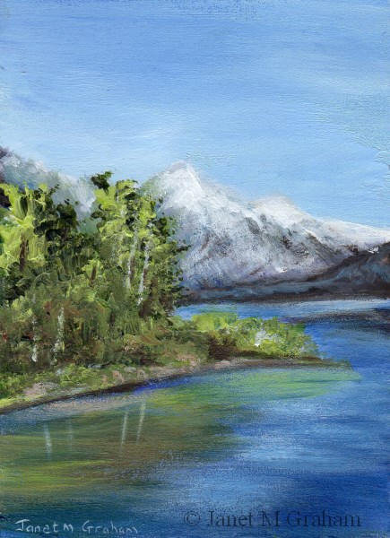"""""""Snow Capped Mountain ACEO"""" original fine art by Janet Graham"""
