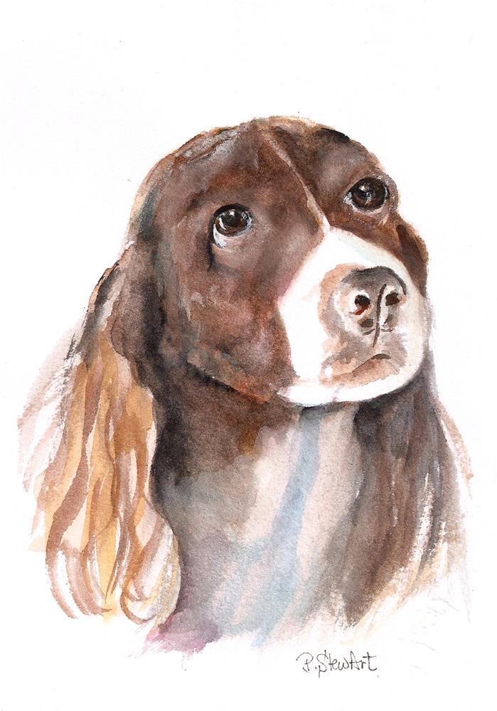"""5x7 Watercolor English Springer Spaniel Pet Portrait Dog Art by Penny StewArt"" original fine art by Penny Lee StewArt"