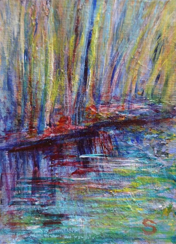 """""""3061 - Matted - FOREST, EARLY SPRING MORNING ACEO"""" original fine art by Sea Dean"""