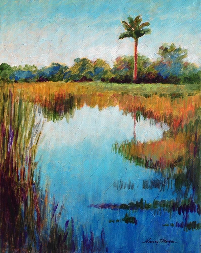 """Egrets Marsh"" original fine art by Nancy F. Morgan"