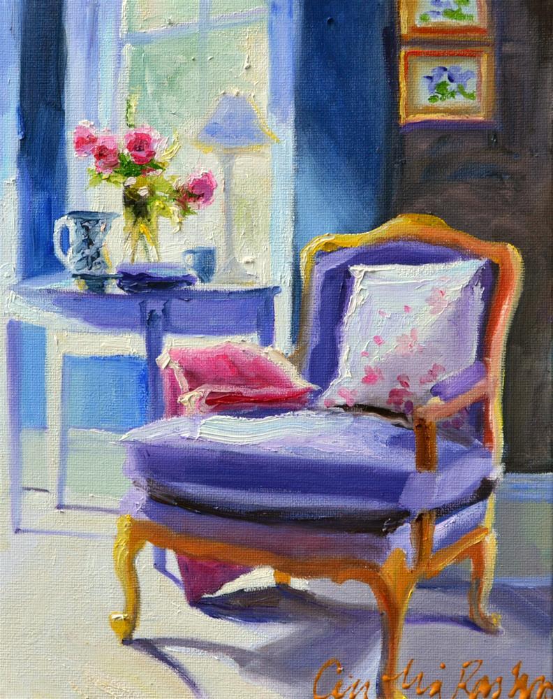 """CHAISE BLEU"" original fine art by Cecilia Rosslee"