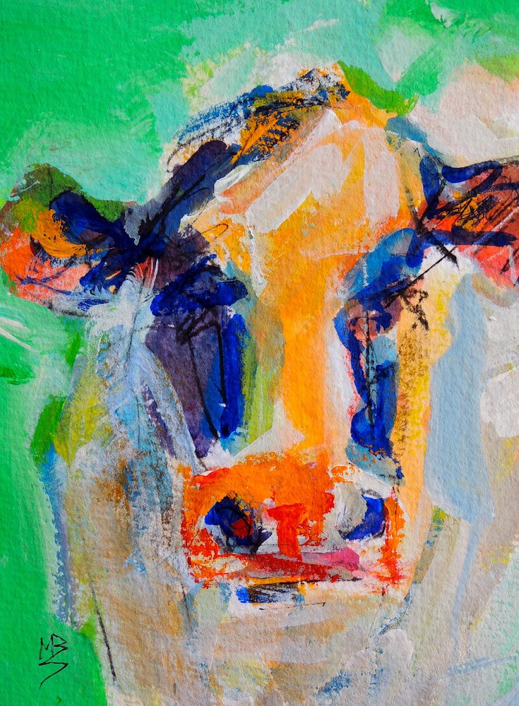 """Colorful Cow 2"" original fine art by Mary Schiros"