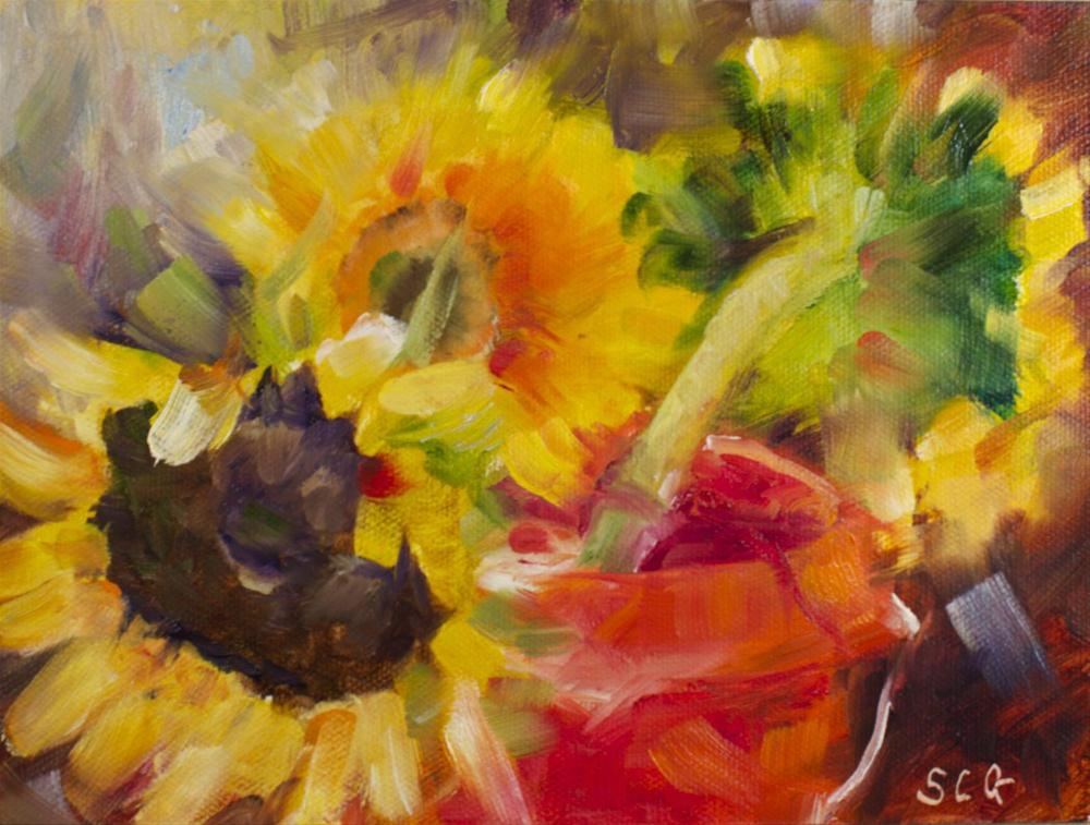 """Farmers Market Sunflowers #2"" original fine art by Sue Churchgrant"