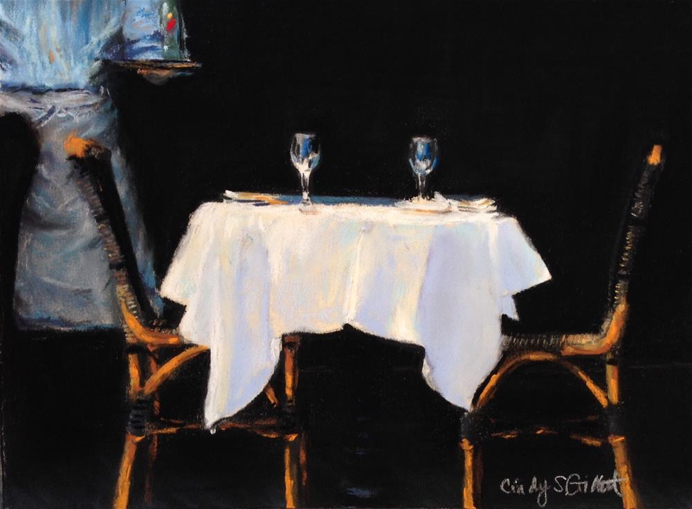 """""""A Table For Two"""" original fine art by Cindy Gillett"""