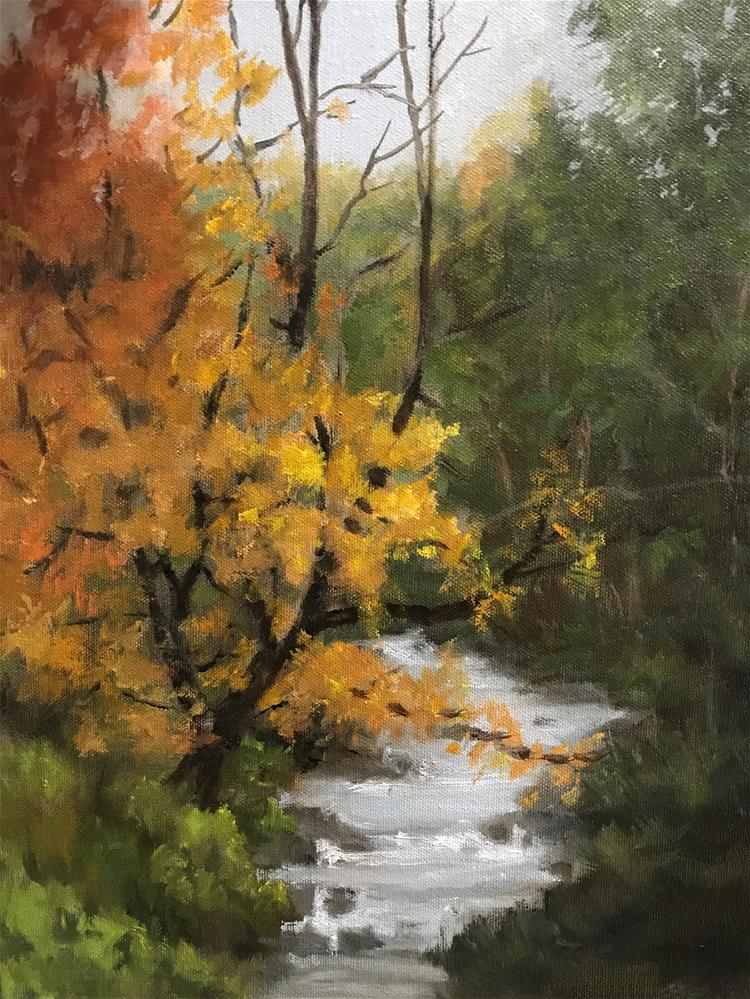 """autumn leaves falling in the brook"" original fine art by Betty Argiros"