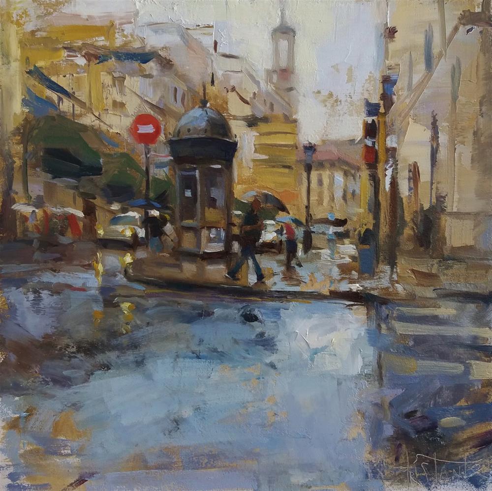 """Rainy morning"" original fine art by Víctor Tristante"