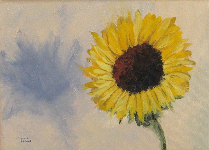 """""""Sunflower with Shadow"""" original fine art by Torrie Smiley"""