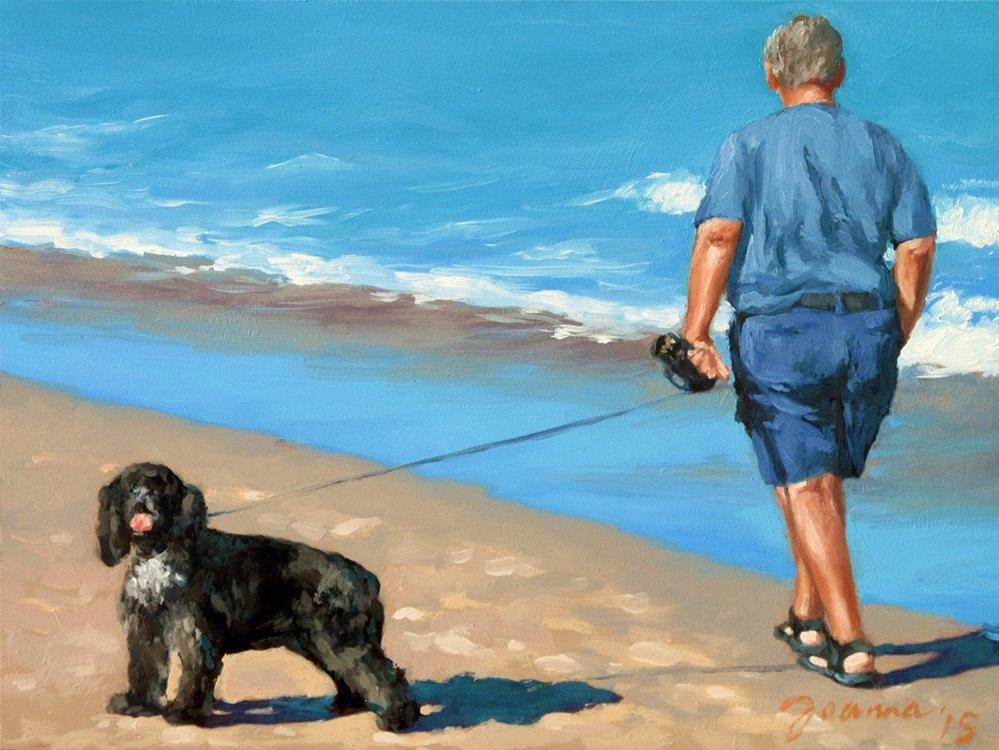 """Hello...Goodbye -- Series Painting of Dogs & Owners on the Beach"" original fine art by Joanna Bingham"