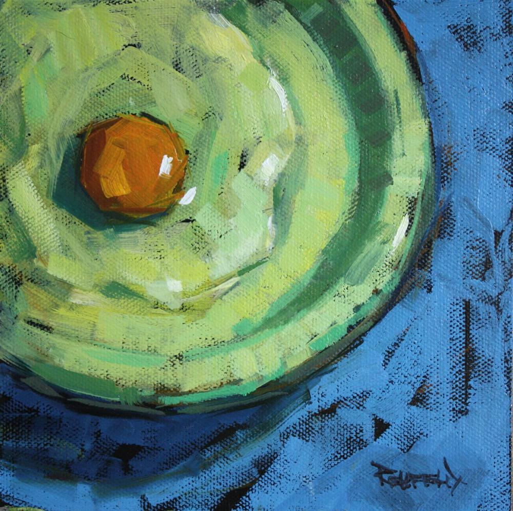 """Yolk on Green Plate"" original fine art by Cathleen Rehfeld"