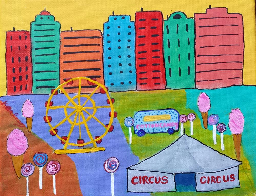 """Circus in the City"" original fine art by Karleen Kareem"