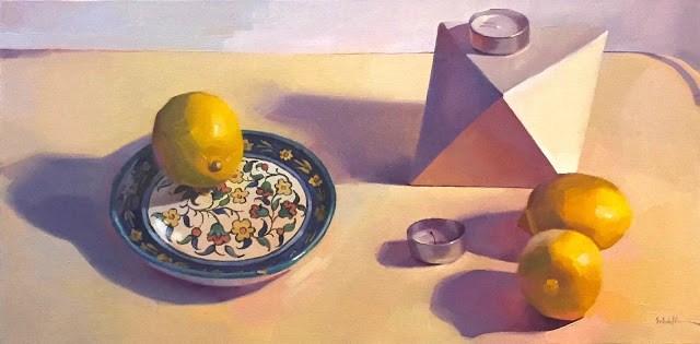 """White Object, Lemons Still Life, Work-In-Progress, and Black-and-White Sketch!"" original fine art by Sarah Sedwick"