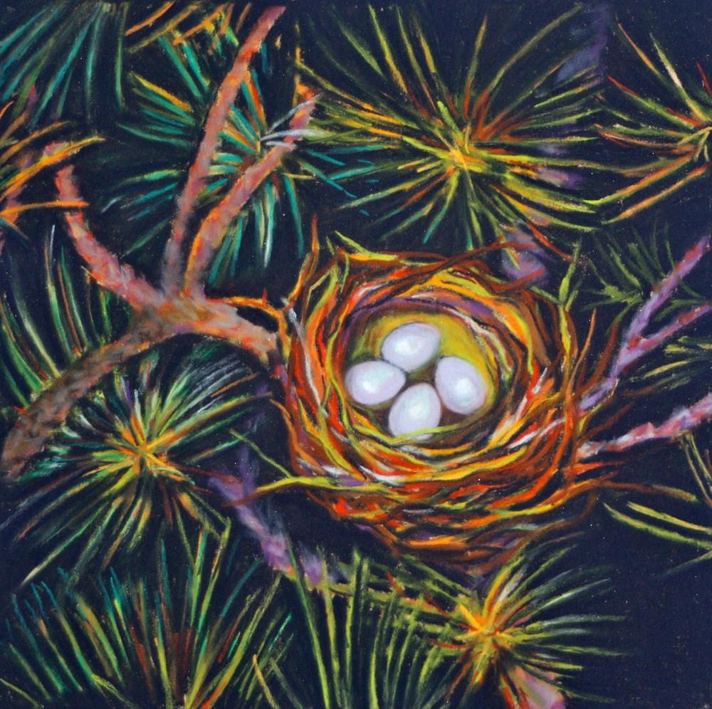 """Nest in the Pines"" original fine art by Jill Bates"