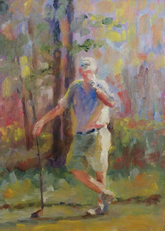"""Pondering the Shot"" original fine art by Sue Churchgrant"