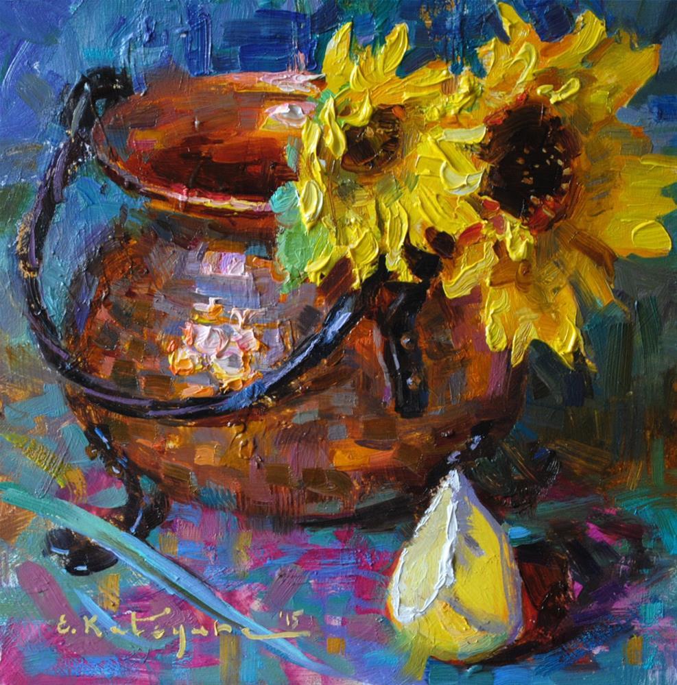 """Copper and Sunflowers"" original fine art by Elena Katsyura"