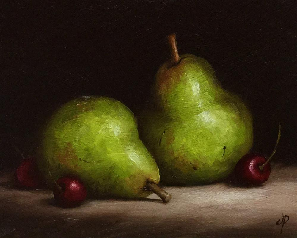 """Pears and Cherries"" original fine art by Jane Palmer"