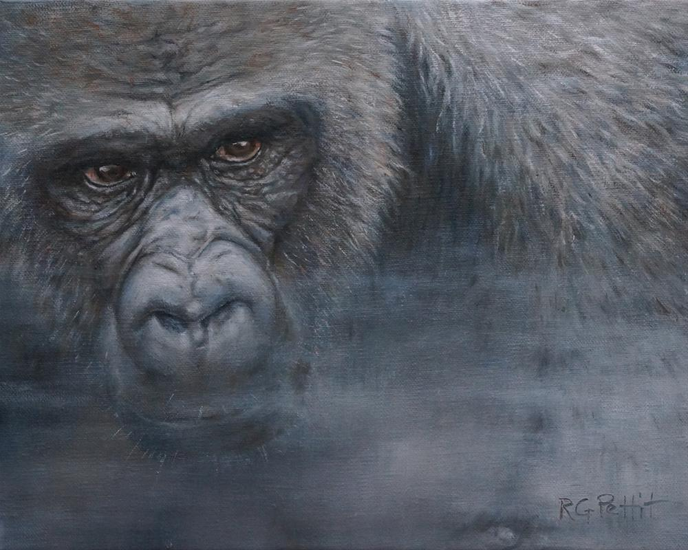 """Gorilla in the Mist"" original fine art by Rhea  Groepper Pettit"