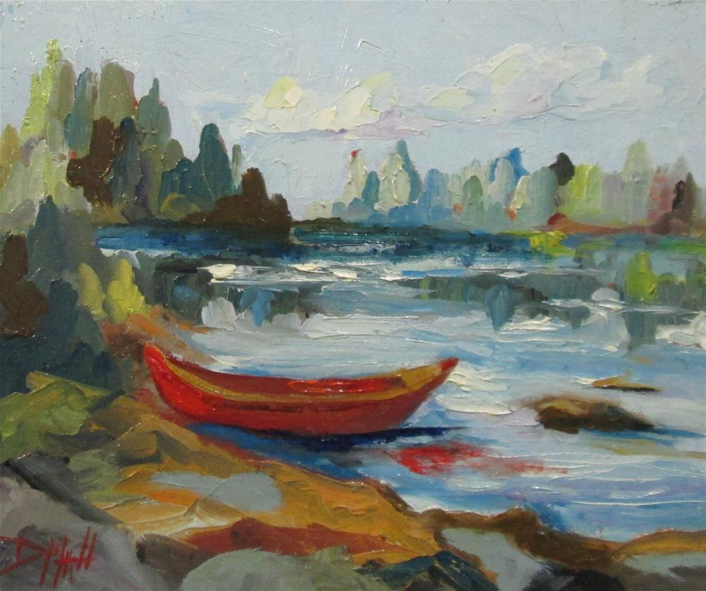 """Red Canoe"" original fine art by Delilah Smith"