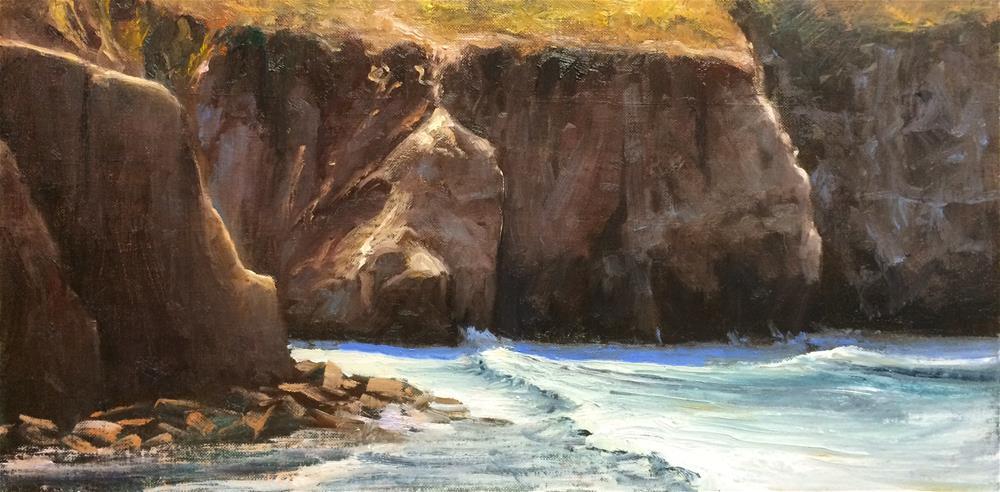 """La Jolla Caves, San Diego, 8x16"" original fine art by Pavel Gazur"