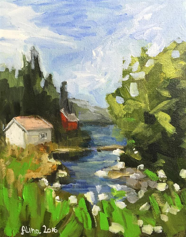 """Alversund Norway Fjord "" original fine art by Alina Vidulescu"