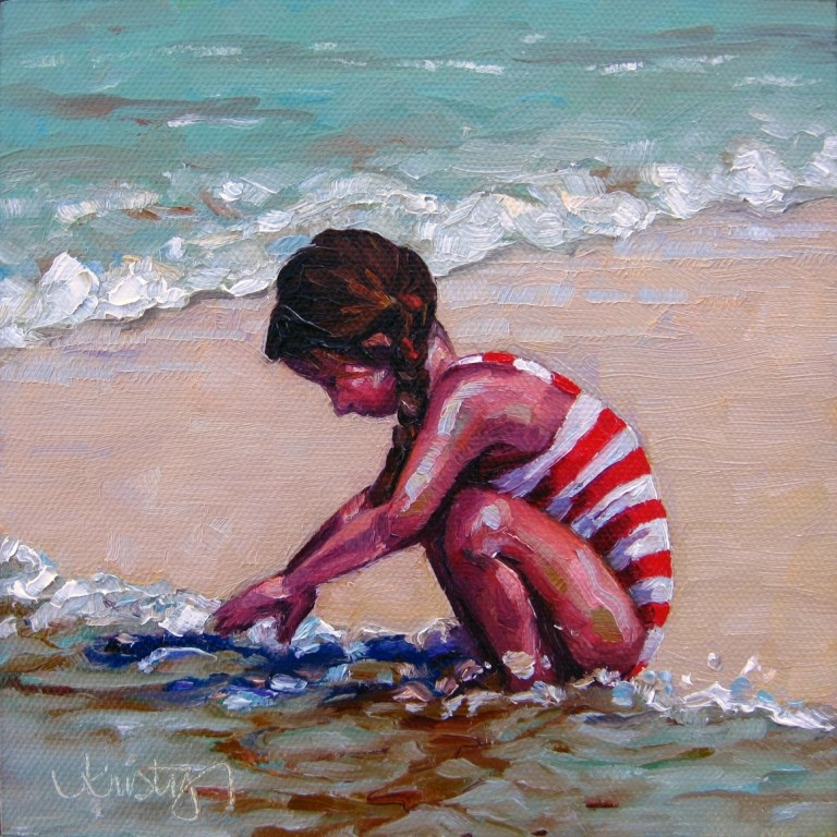 """SAND & FOAM"" original fine art by Kristy Tracy"
