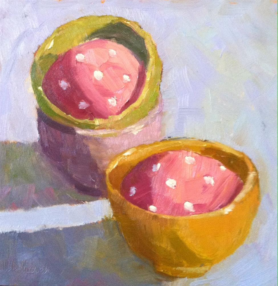 """""""Polka Dotted Eggs"""" original fine art by Katharine March"""