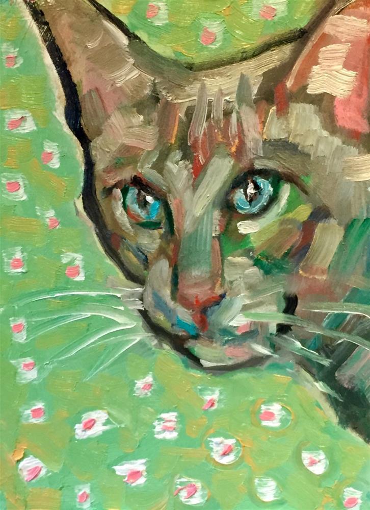 """""""Green Cat"""" original fine art by Rachel K Schlueter"""
