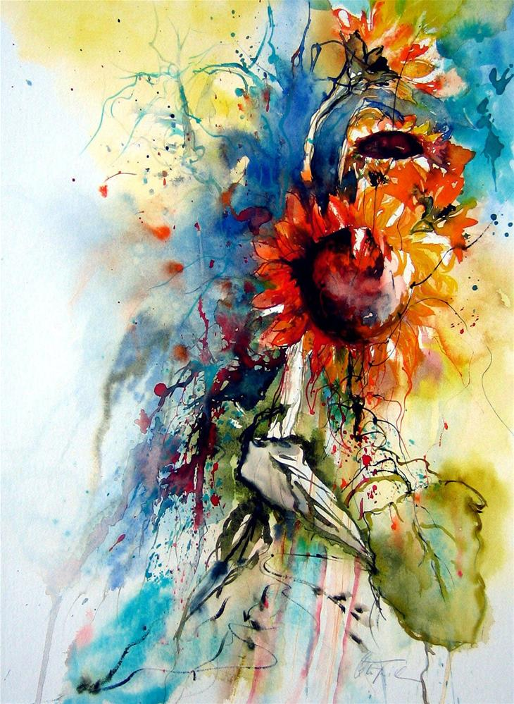 """Sunflowers"" original fine art by Christa Friedl"
