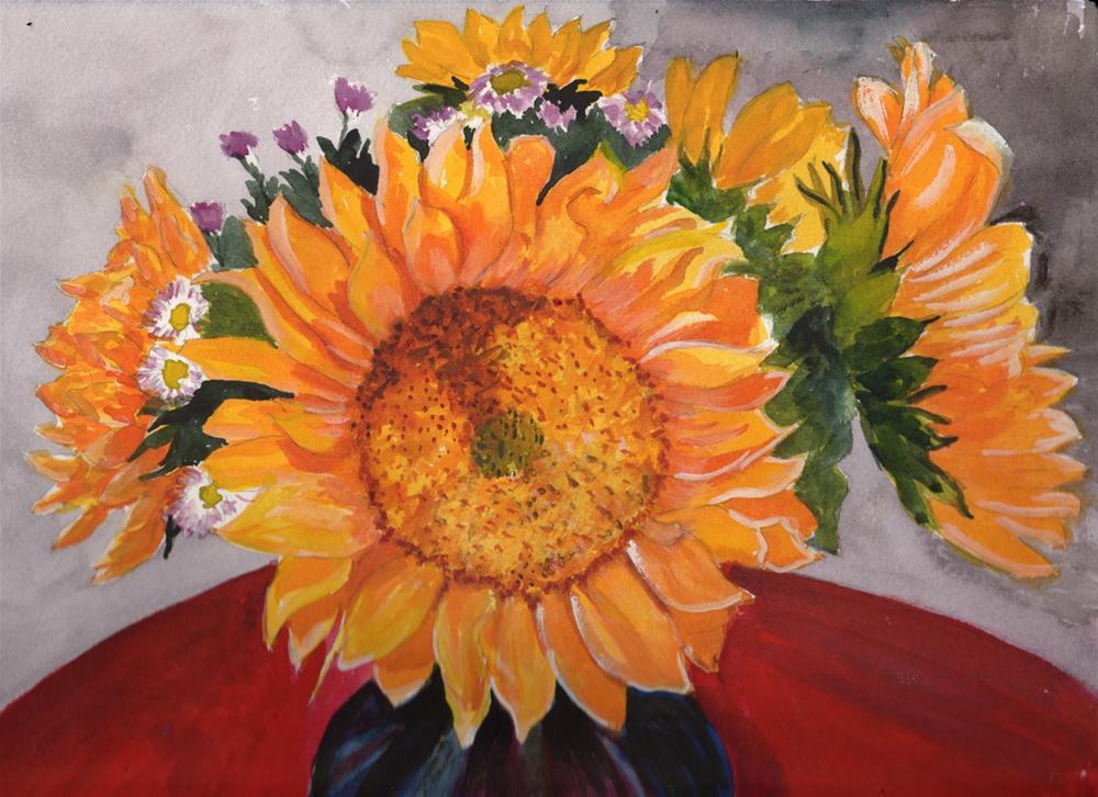 """Sunflowers"" original fine art by Bunny Griffeth"