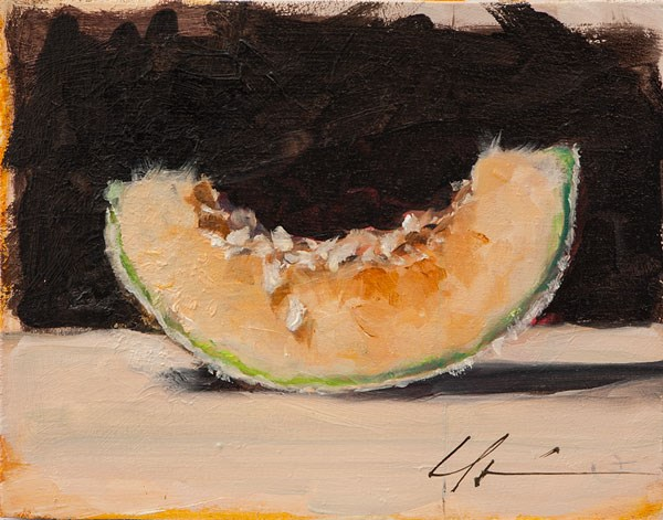 """Sliced Cantaloupe"" original fine art by Clair Hartmann"