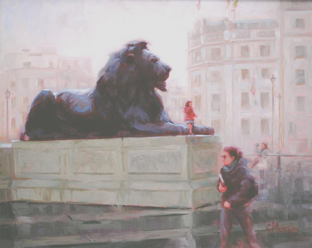 """Landseer Lion, Trafalgar Square, London"" original fine art by Cecile W. Morgan"
