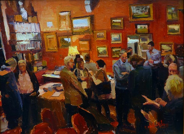 """Those Chelsea Art Society Meetings at Julian's (Tite Street)"" original fine art by Adebanji Alade"