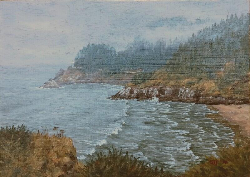 """C1570 Mist Rising over Heceta Head Light (Oregon Coast)"" original fine art by Steven Thor Johanneson"