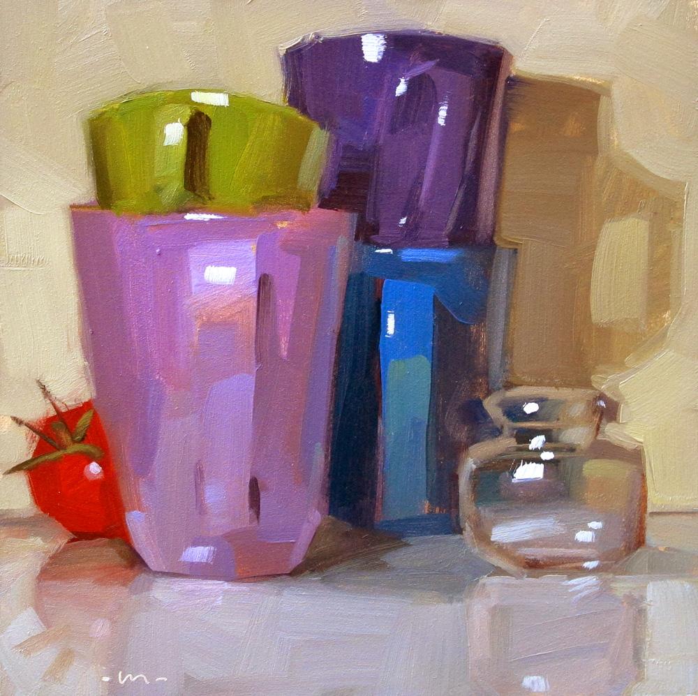 """Hide Behind Stacks"" original fine art by Carol Marine"