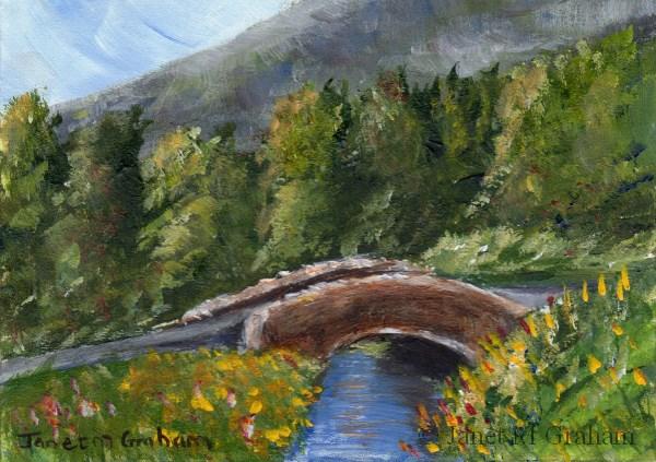 """Summer Bridge ACEO"" original fine art by Janet Graham"