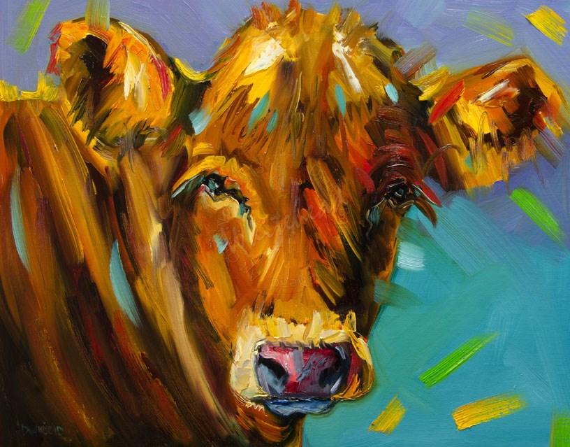 """ARTOUTWEST COW CATTLE ANIMAL ART OIL PAINTING DIANE WHITEHEAD PARTY COWS"" original fine art by Diane Whitehead"