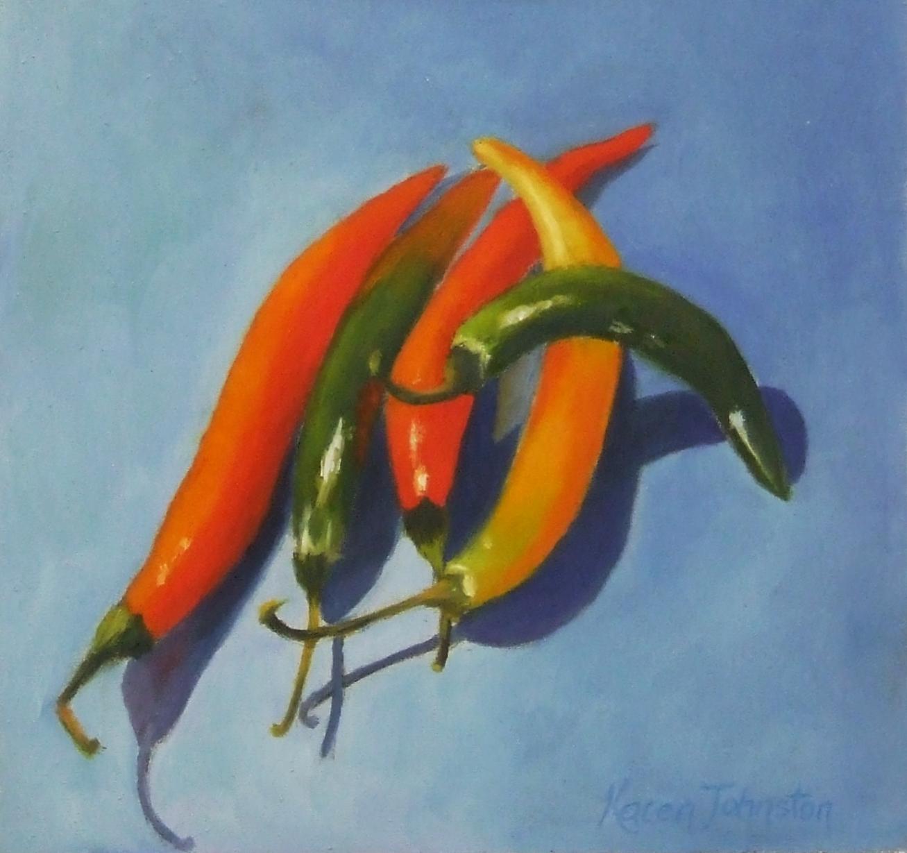 """""""Chillies"""" original fine art by Karen Johnston"""