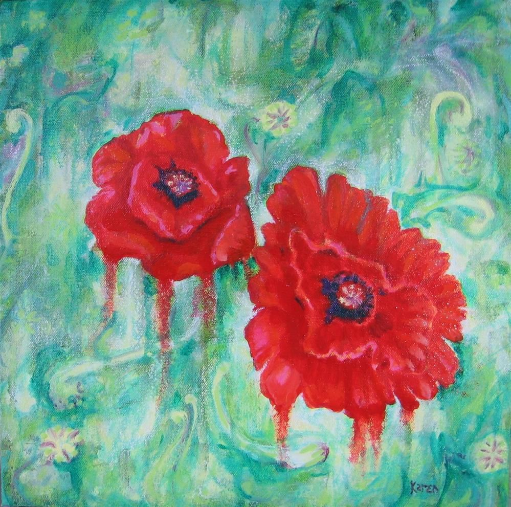 """Bleeding Poppies"" original fine art by Karen Roncari"