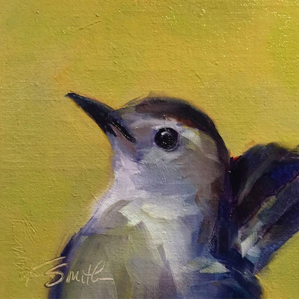 """gray catbird"" original fine art by Kim Smith"