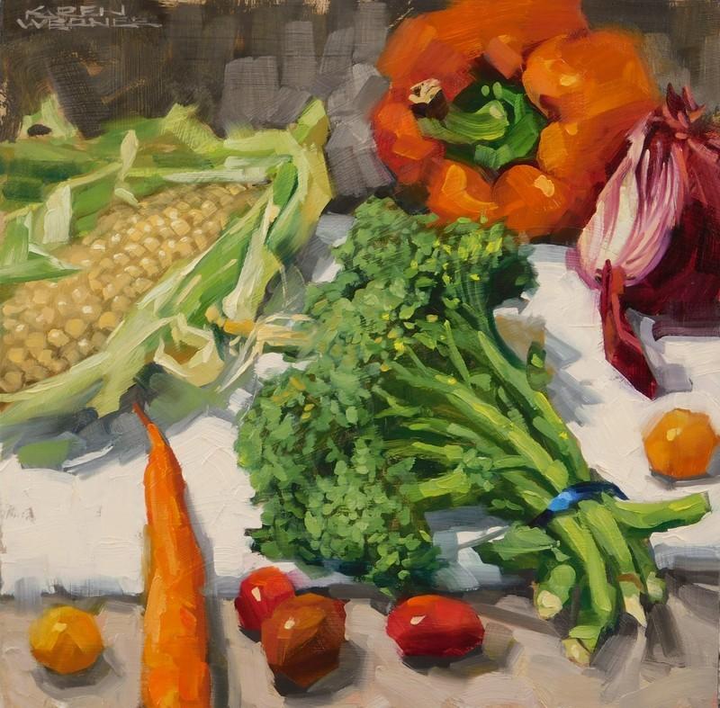"""Eat Your Broccoli"" original fine art by Karen Werner"