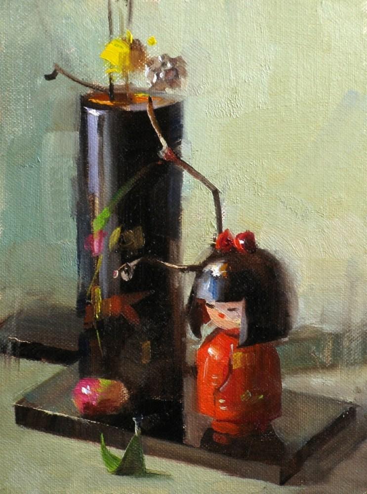 """""""Ikebana Doll"""" original fine art by Qiang Huang"""