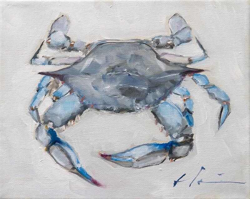 """""""Blue Crab"""" original fine art by Clair Hartmann"""