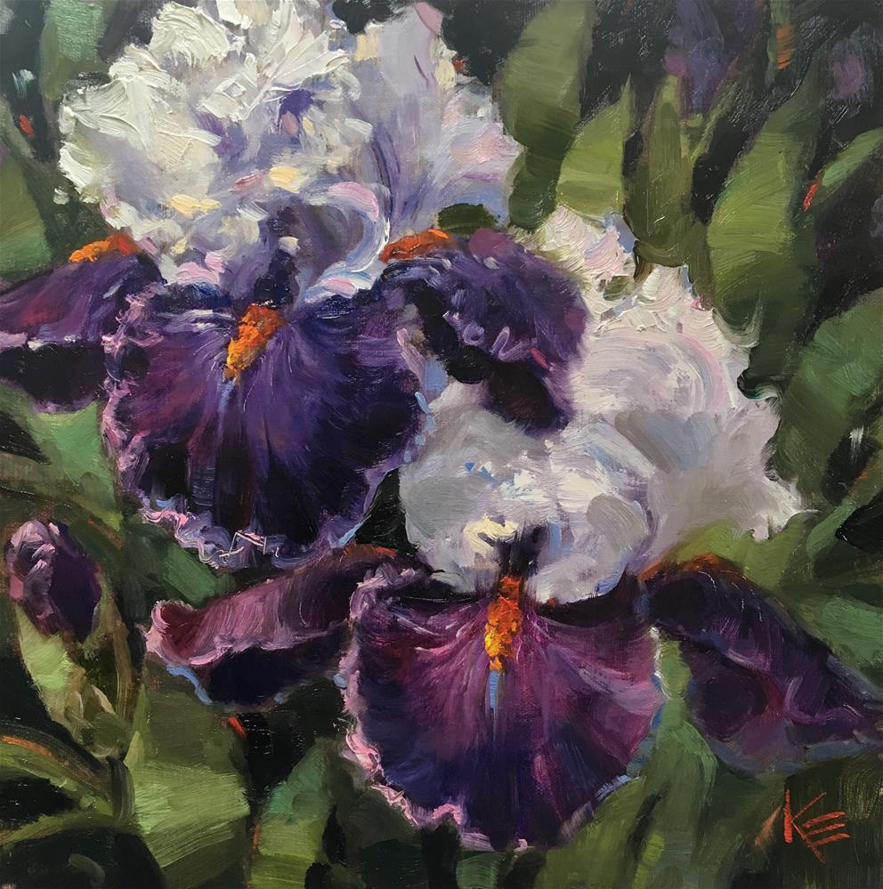 """Purple Irises"" original fine art by Krista Eaton"