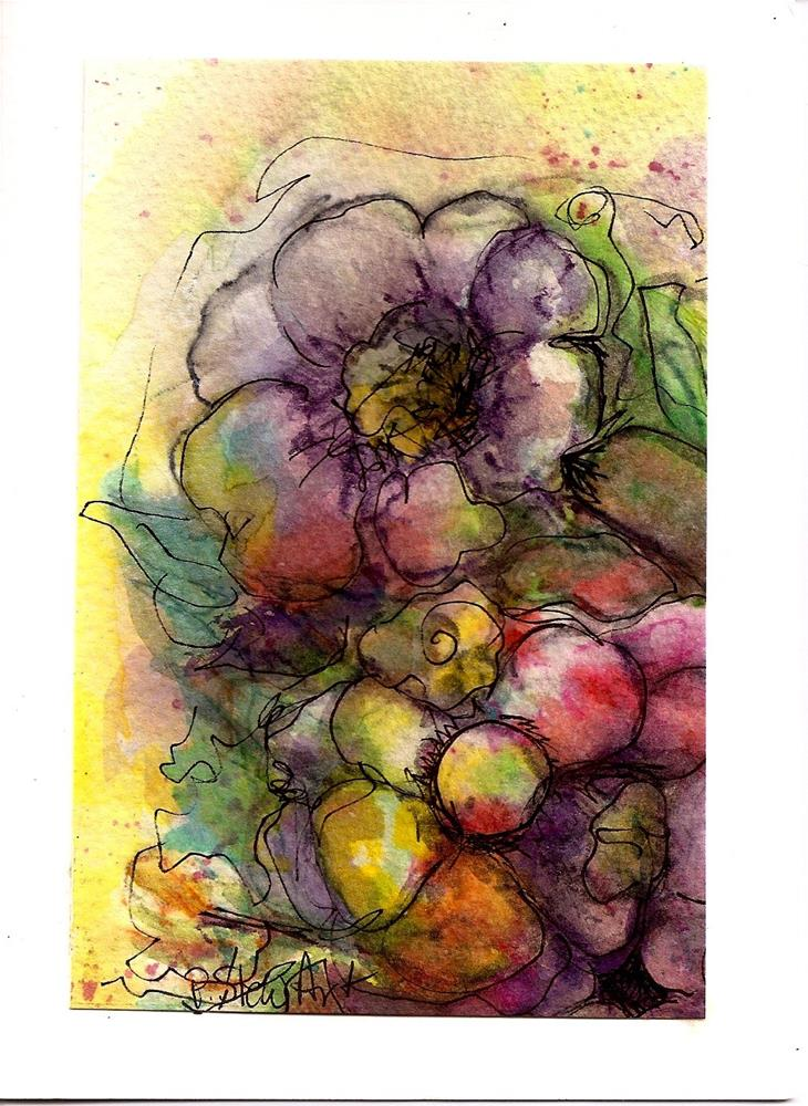 """""""5x7 Floral Loose Style Watercolor Pencils and Pen, made into Note Card"""" original fine art by Penny Lee StewArt"""