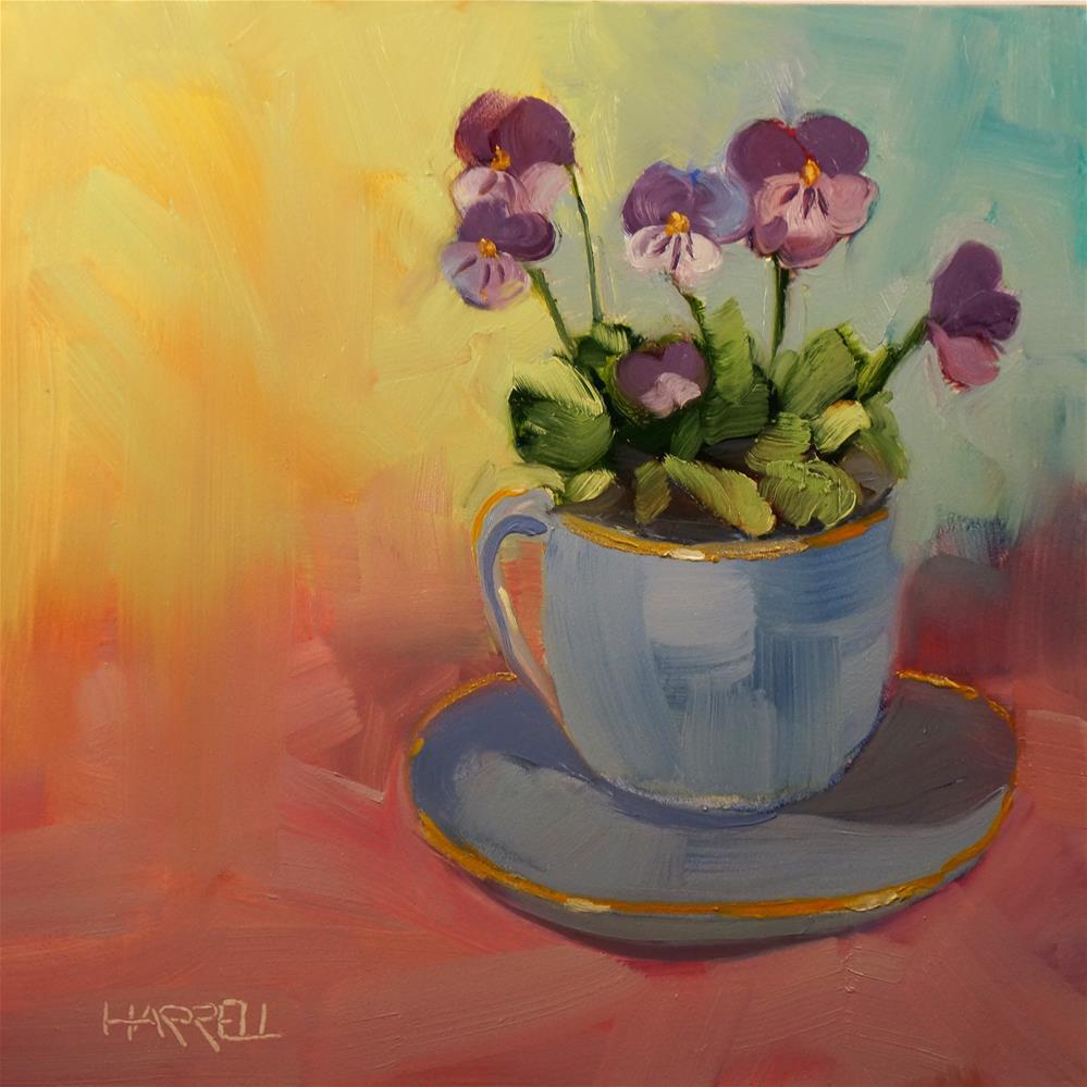 """""""Cup of Violas"""" original fine art by Sue Harrell"""
