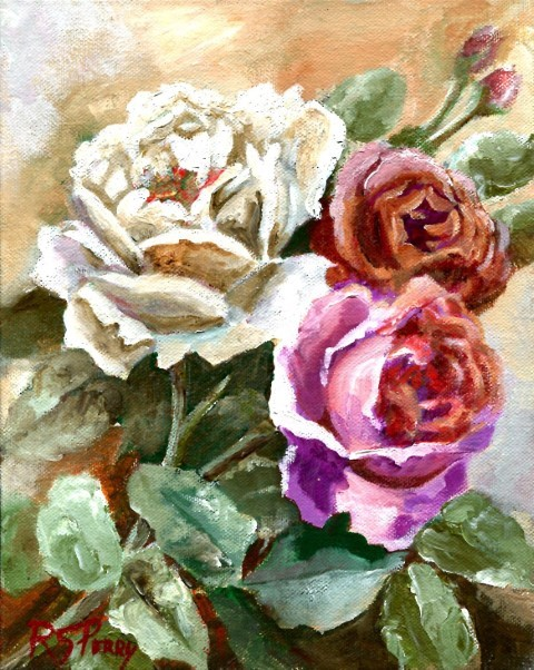 """Three Roses "" original fine art by R. S. Perry"