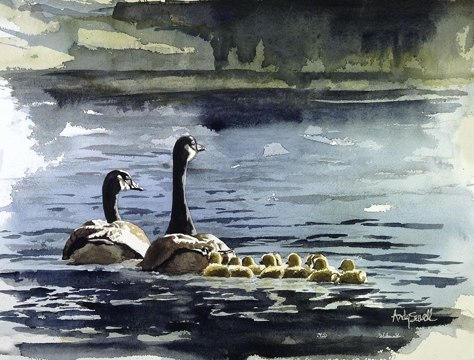 """G is for Goose or A Family Swim"" original fine art by Andy Sewell"