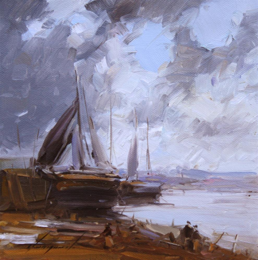 """FISHING BOATS ORIGINAL OIL PAINTING ON CANVAS IMPRESSIONISM"" original fine art by V Y"